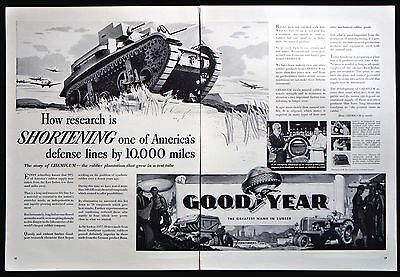 Vintage 1941 Goodyear Rubber 2-Page Magazine Ad CHEMIGUM Plantation
