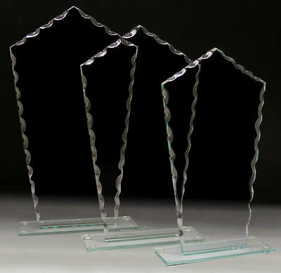 Personalised Ruffled Edge Tall Jade Glass Multi Award Engraved With Any Text