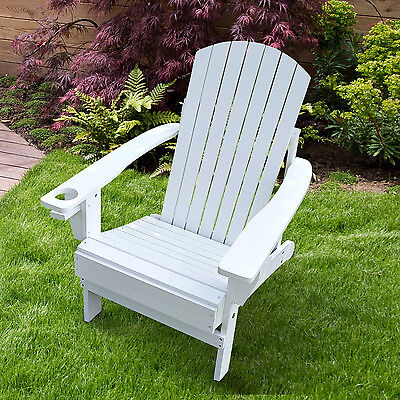 Wooden Patio Adirondack Lounge Chair Outdoor Garden Chaise W/ Cup Holder White