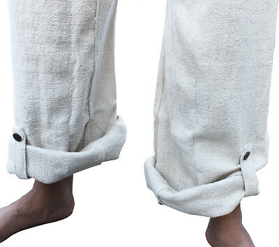 Fisherman Pants Thick Hemp In Natural Cream Wrap Waist Comfortable Fit Tall M