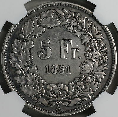 1851-A NGC VF SWITZERLAND Silver 5 Francs Swiss Coin (16112802C)