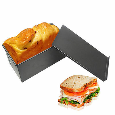Black Rectangle Tin Bread Box Container Loaf Bread Kitchen Bakeware New