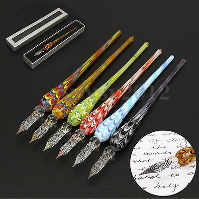 Creative Crystal Glass Dip Signature Pen Filling Ink Fountain Pens With Gift Box