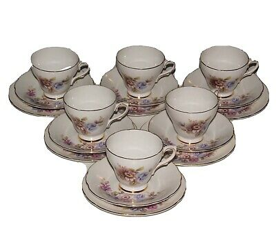 Royal Sutherland China, 6 Cup Saucer Trios.