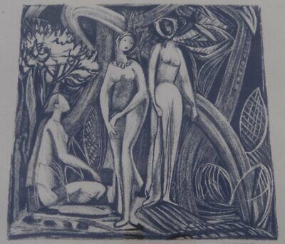 unleserl. sign. Lithografie , ger/Glas, RG 41x51 cm  (219/13051)