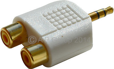 3.5mm Stereo Jack plug to 2 RCA Phono Female Sockets white Adapter Aux to RCA