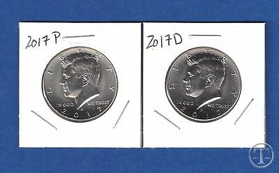2017 P and D-BU UNCIRCULATED Kennedy Half Dollar Set-PD from Rolls-IN STOCK