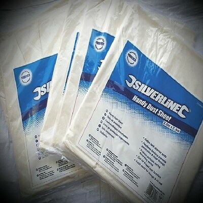 Silverline Cotton Spillproof Dust Sheet 12 X 9 - 3.6 x 2.4m  WITH POLY BACKING