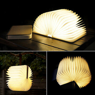 Wooden Folding Book Lamp USB Rechargeable Magnetic Decoration Light Warm White