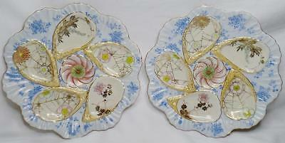 EXQUISITE PAIR 2 ANTIQUE 19th C MEIJI JAPANESE GILT OYSTER PLATES SIGNED MAKRED