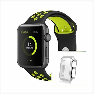 Black Yellow New Silicone Strap Band For Apple Watch 38mm Silver Protect Case