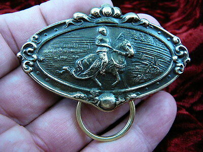 (E-434) Knight with horse tournament Eyeglass pin pendant ID badge holder brooch
