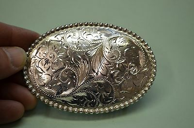 OUTRAGEOUS Western Dress Fancy Floral Beaded Edge Belt Buckle made by FLEMING