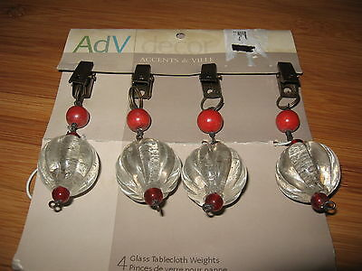 RARE Vintage ACCENTS de VILLE heavy glass globe tablecloth weights RETRO cute