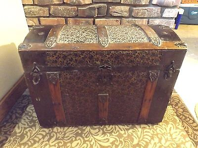 Antique Trunk Steamer Storage Chest Ornate Metal Wood w/ Insert
