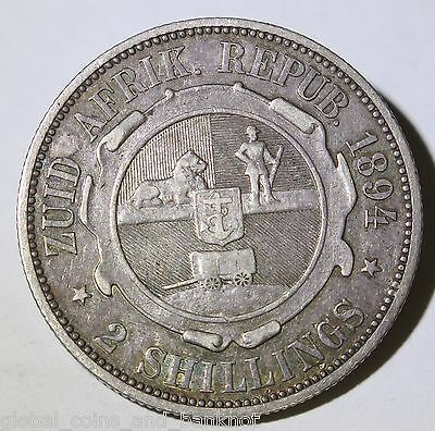South Africa 1894 2 Shilling - Silver Coin VF
