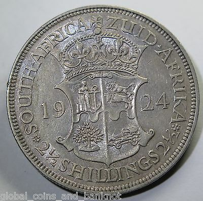 South Africa 1924 2 Half Shillings (2 1/2 - Silver Coin gF