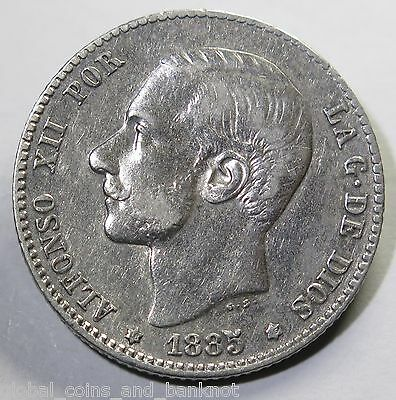 Spain 1885 1 Peseta MS-M - Silver Coin