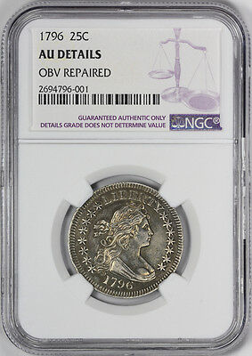 1796 Draped Bust Quarter NGC AU About Uncirculated Details Small Eagle