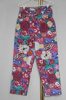 """Vintage 80s Bright Crazy Floral Print Tapered Cotton Denim Trousers 29"""""""