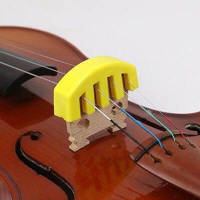 1x Violin Mute Practice Rubber Violin Mute Silencer Green Yellow Color Durable