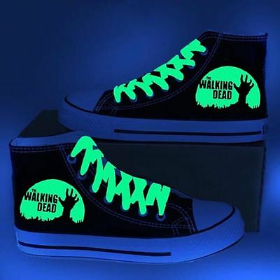 The Walking Dead Night Light Hight Canvas Shoes Men Women Ankle Lace-Up Sneakers