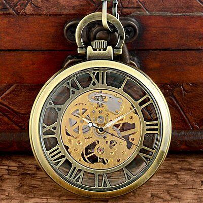 Vintage Bronze Mechanical Pocket Watch Windup Open Face Mens Gift Roman Antique