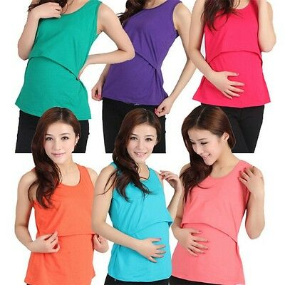Lady Summer Maternity Vest Tops Apparel Breastfeeding Nursing Sleeveless T-Shirt