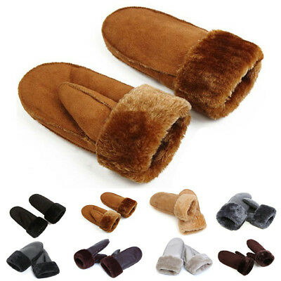 Womens Mens Premium Genuine Sheepskin Gloves Fur Cuff Winter Warm Glove Mittens