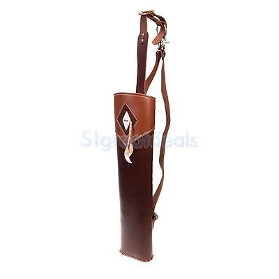 Cow Leather 3 Point Belt Arrow Quiver Case Holder Back Pack Archery Hunting