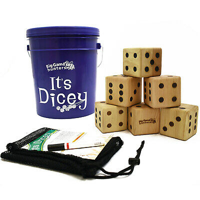 Giant Dice Game. Play Yahtzee and Farkle with It's Dicey: 6 x 9cm3 giant wooden
