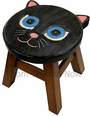 Wooden Children's Kids Black Cat Stool Bedroom Playroom Animal Chair Hand Carved