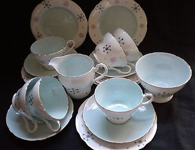 "Pretty Vintage Blue With Stars Tea Set - Tuscan ""marian - Wedding/tea Party (45)"