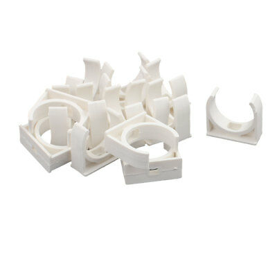 Home PVC U Shaped Water Supply Pipe Holder Clamps Clips White 32 mm Dia 15 Pcs