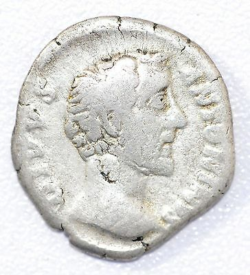 AUTHENTIC EMPEROR ANTONINUS PIUS, COIN Silver Denarius -rev. ROMAN TEMPLE - A918