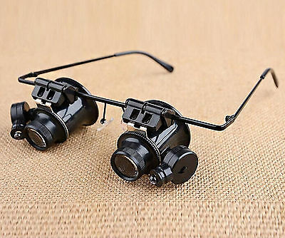 20X  Head on Light up Double Eye Jeweler Watch Repair Magnifier Glasses Lens