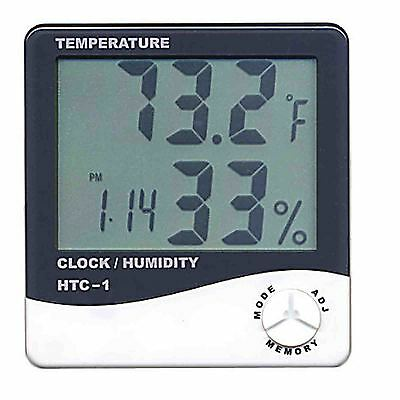 Digital HTC LCD Hygrometer Alarm Data Clock Calender Thermometer indoor outdoor