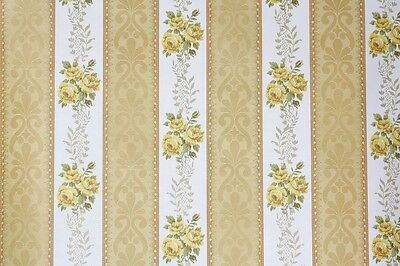 1970's Vintage Wallpaper Yellow Roses on White and Gold Floral Stripe