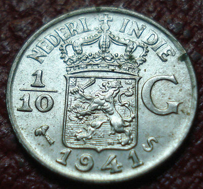 1941-S Netherlands East Indies 1/10 Gulden In Au Condition