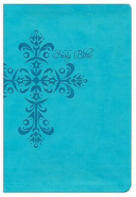 NKJV Giant Print Reference Bible, Teal LeatherTouch,   Custom
