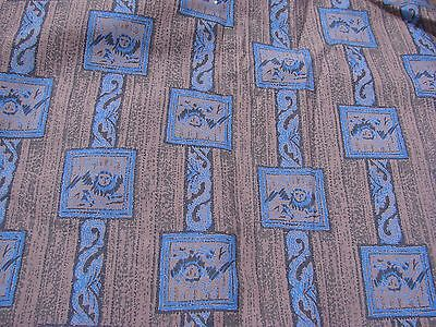 4 Yards Of Vintage Brown And Blue Masculine Print Cotton Fabric