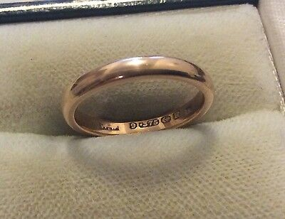 Beautiful Ladies Full Hallmarked Early Vintage Solid 9ct Rose Gold Band Ring - i