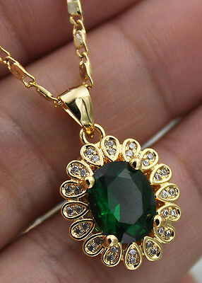 18K Yellow Gold Filled - 8*10MM Oval Peridot Topaz Flower Party Pendant Necklace