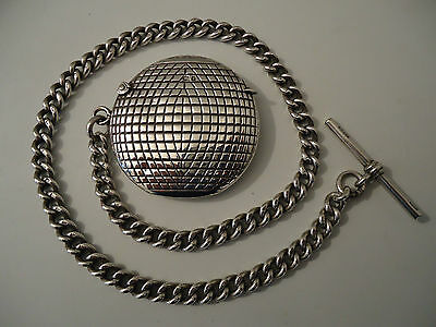 Rare! Antique Silver 'Gutty' Golf Ball Vesta Case 1905 with Silver Chain 1907.