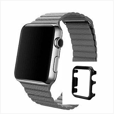 Grey Leather Watch Band Strap Magnetic Buckle Apple Loop 42mm Black Colour Case