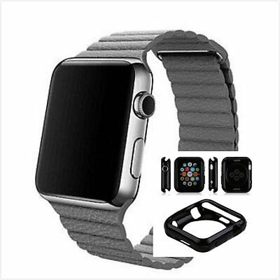 Grey Leather Watch Band Strap Magnetic Buckle Apple Loop 42mm w/ Black Case x 1