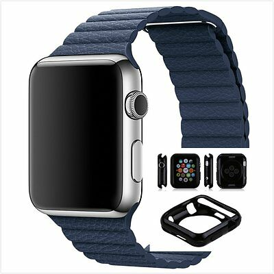 Blue Leather Watch Band Strap Magnetic Buckle Apple Loop 38mm w/ Black Case x 1