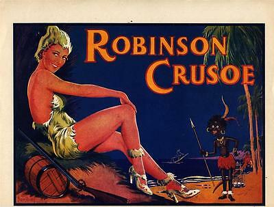 """01 - ORIGINAL ROBINSON CRUSOE """"PASTE ON"""" FOR PANTOMIME POSTER - 1940s"""