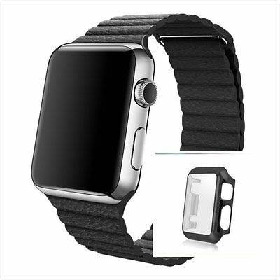 Black Leather Watch Band Strap Magnetic For Apple Loop 38mm Full Protect Case