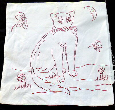 CHARMING Early 1900s FRENCH Redwork Pillow CAT MOON *From Paris*